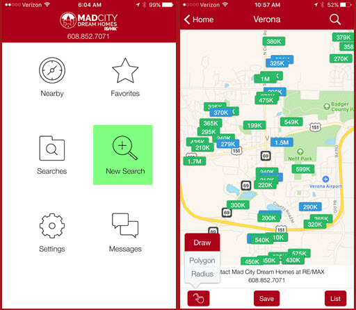 Mobile App Radius Search - Mad City Dream Homes